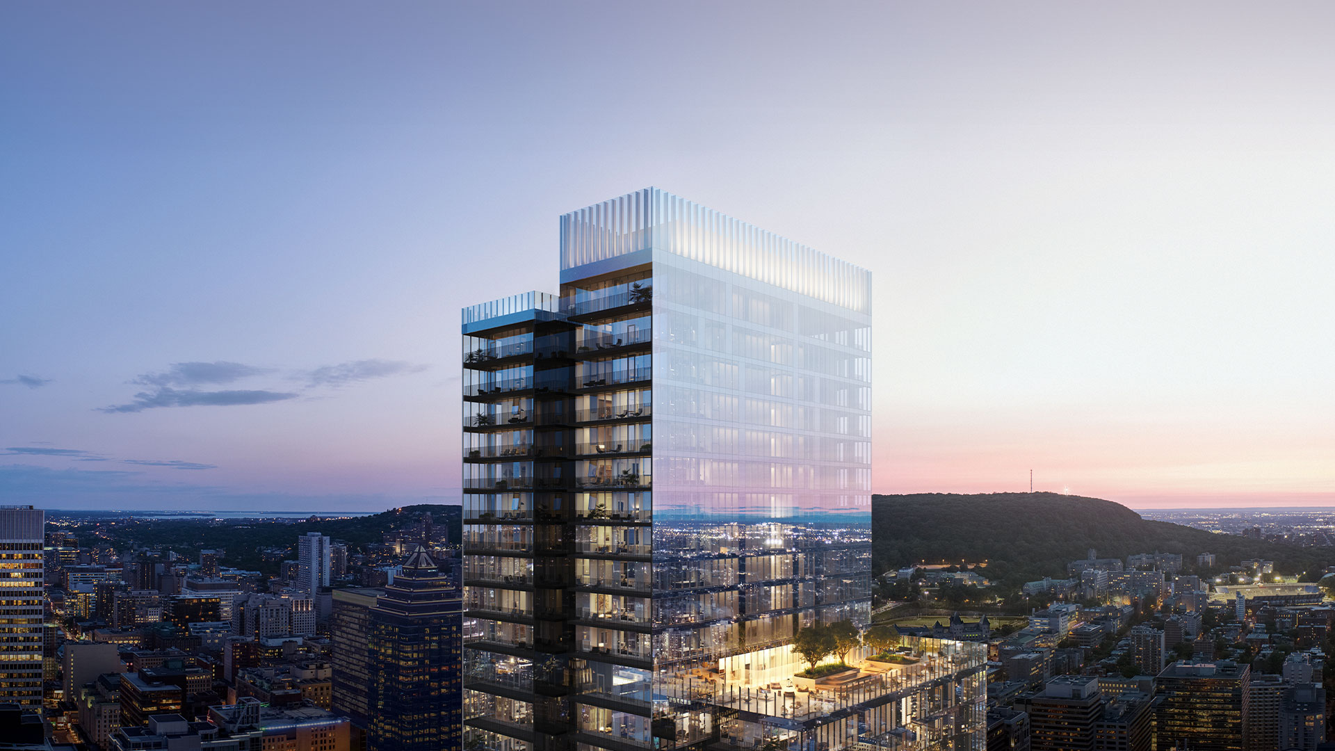 Exterior view of new luxury apartments for sale in Montreal of 1 Square Phillips