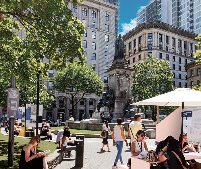 Vue du Square Phillips là où se trouve le projet de condo à Montréal 1 Square Phillips