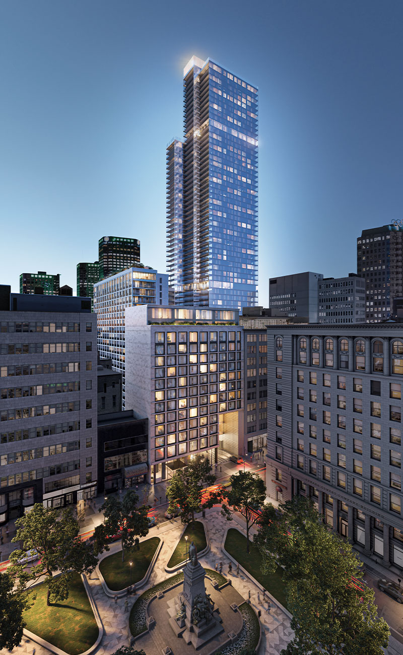 Vue extérieure du projet de condo de luxe à Montréal 1 Square Phillips