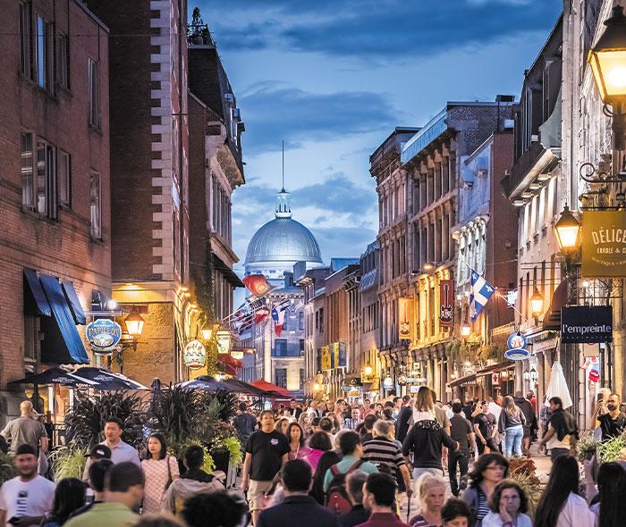 Vue du centre-ville de Montréal où l'on trouvede l'immobilier à vendre
