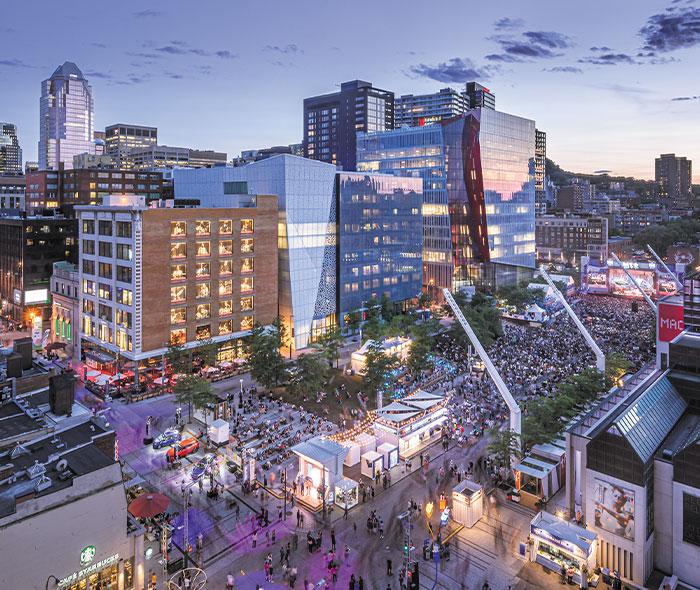 Vue du quatier des spectacles de Montréal à proximité de condos de luxe